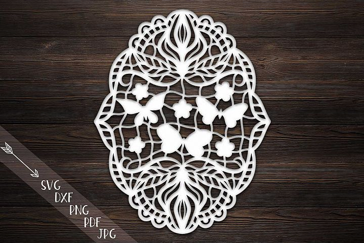 floral butterflies garland, svg digital file, handpapercut template, lace papercutting, zentagle, Wooden plasma waterjet laser cut CNC File