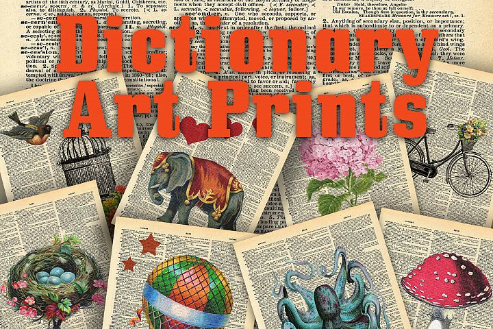 Vintage Dictionary Art Print Collection - 24 different Art Prints - Printable Art Prints