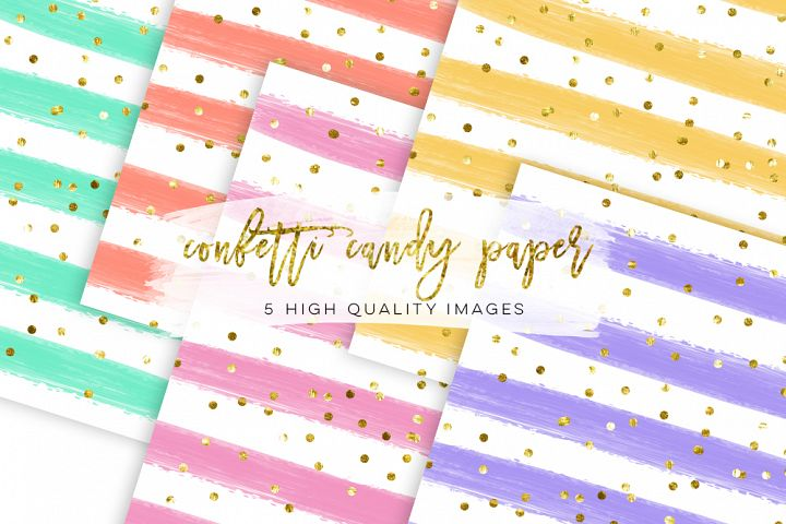 mustard yellow confetti paper, Watercolor Stripe Digital Paper confetti candy paper, color confetti paper, mint green stripe sticker planner