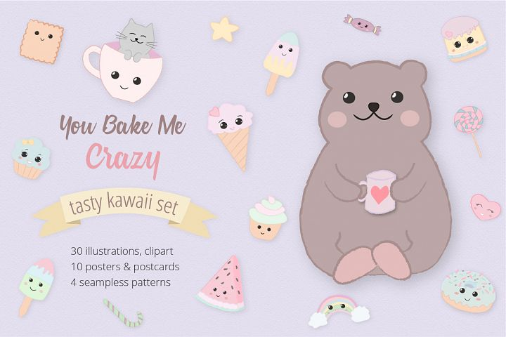 Sweet Kawaii Cute Cake Illustration Clipart Set