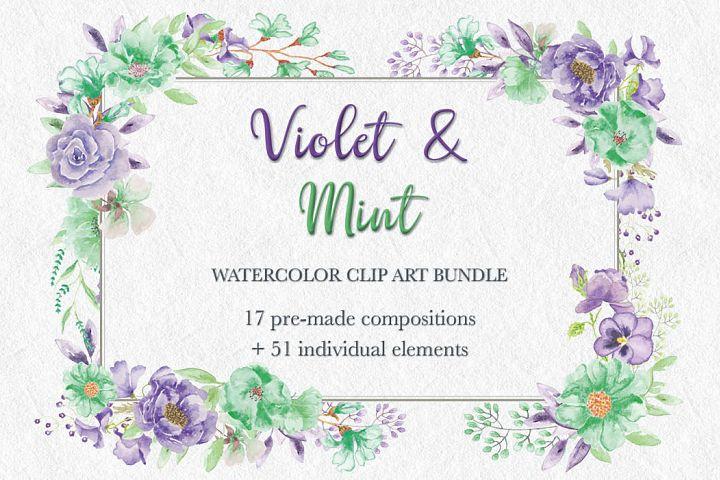 Violet and Mint: watercolor clip art bundle