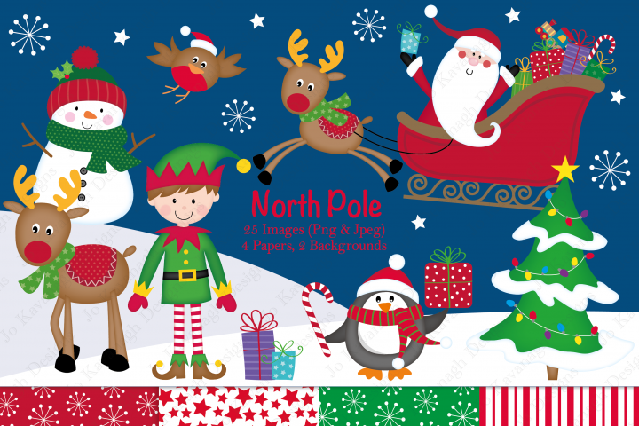 Christmas clipart, Christmas graphics & illustrations, Santa clipart, Santa graphics & illustrations, Rudolph clipart, Christmas digital papers