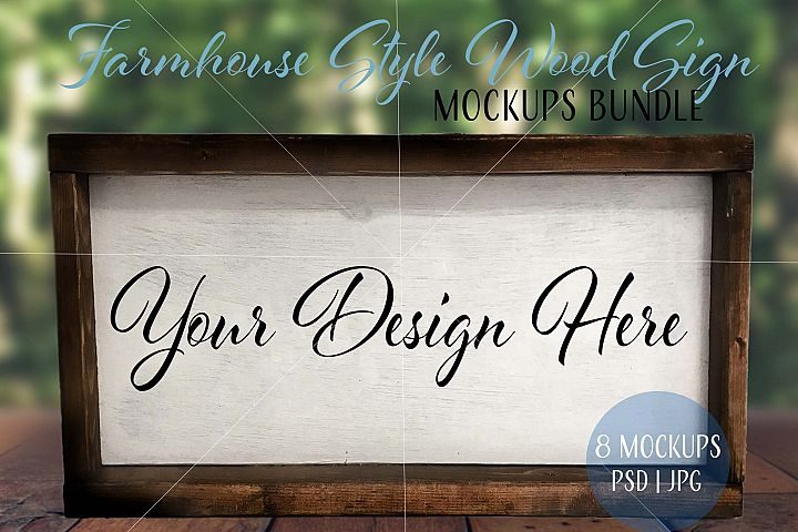 Farmhouse style wood sign mockups in PSD and JPG