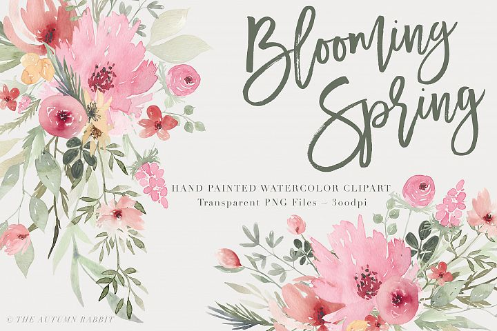 Watercolor Floral Clipart - Blooming Spring