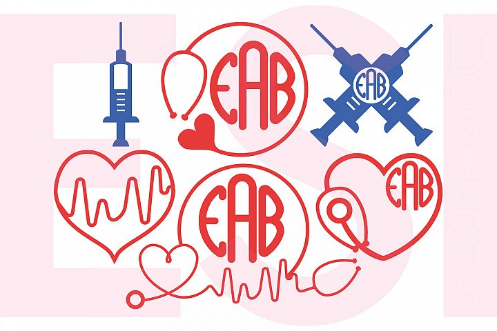 Nurse Monogram Designs Set 2