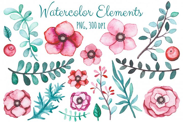 Watercolor Flowers and Birds Set example 2