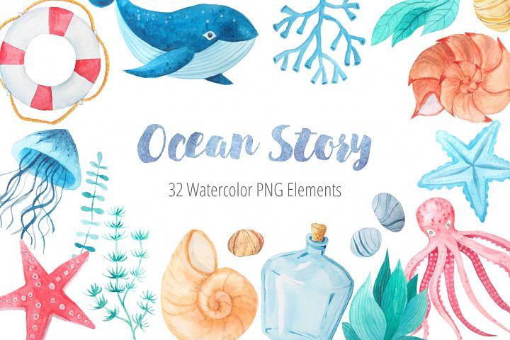 Watercolor Marine Ocean Story