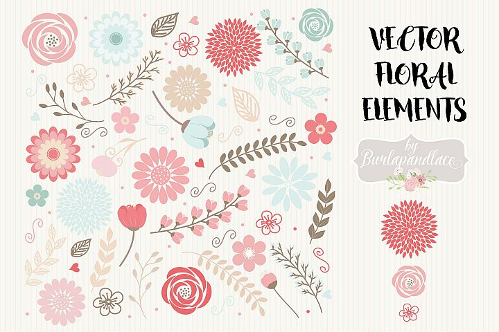 Vector floral elements clipart