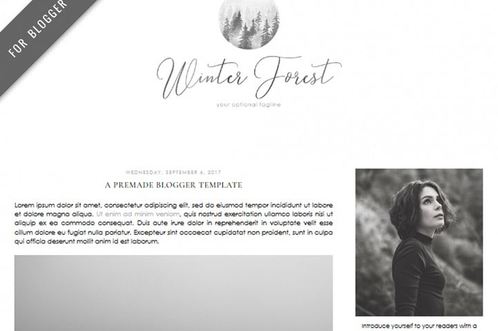 Premade Blogger Template - Mobile Responsive - Watercolor Design Blog - Winter Forest Theme