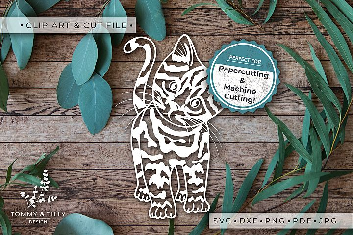 Kitten - SVG DXF PNG EPS JPG PDF Cutting File example 3