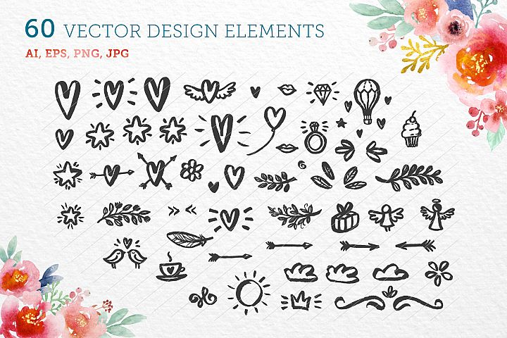 60 vector design elements
