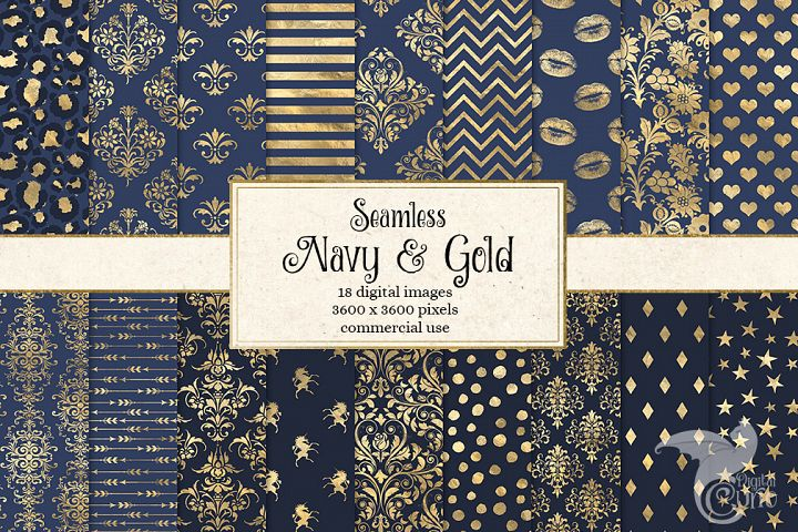 Navy and Gold Digital Paper
