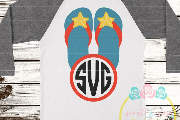 Starfish Flip Flip Monogram Frame SVG DXF PNG