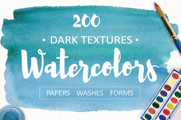 200 watercolor textures and backgrounds. Superbundle!