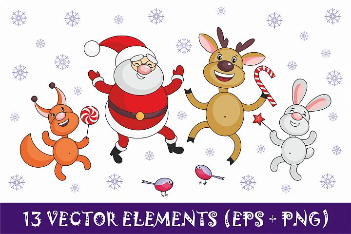 Santa Claus and cheerful animals. Christmas clip arts.