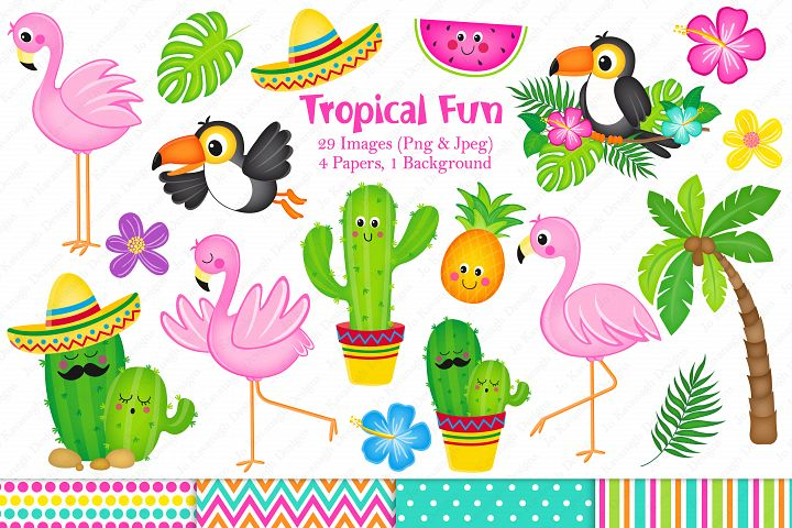 Flamingo graphics & Illustrations, Tropical graphics & Illustrations, Cactus graphics & Illustrations, Flamingo clipart, Cactus clipart