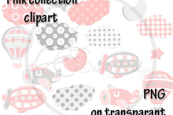 Digital Hot Air Balloon Pink Clipart, Air Plane Clipart, Zeppelin Clipart, Clouds, Moon, Stars