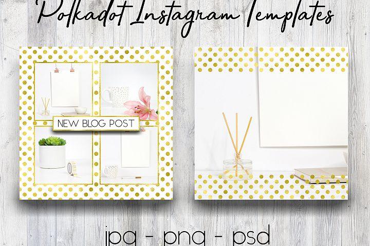 Gold Polkadot Instagram Templates | Social Media Templates