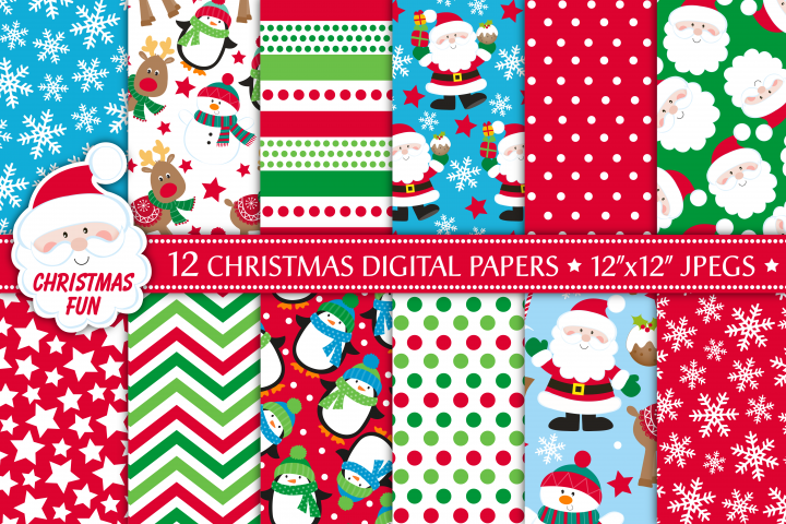 Christmas digital papers, Santa digital papers, Christmas patterns, Christmas digital scrapbook papers