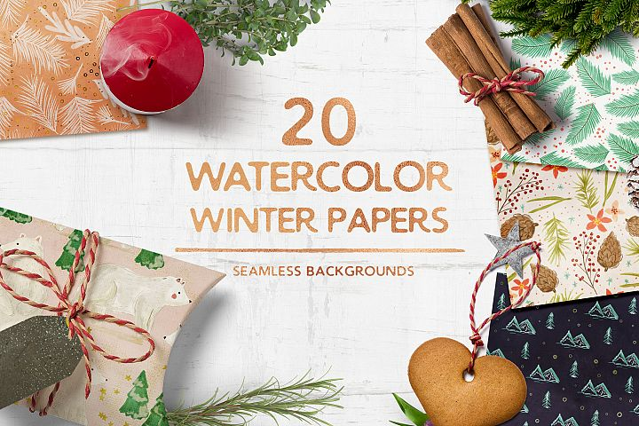 Watercolor Winter Seamless Patterns