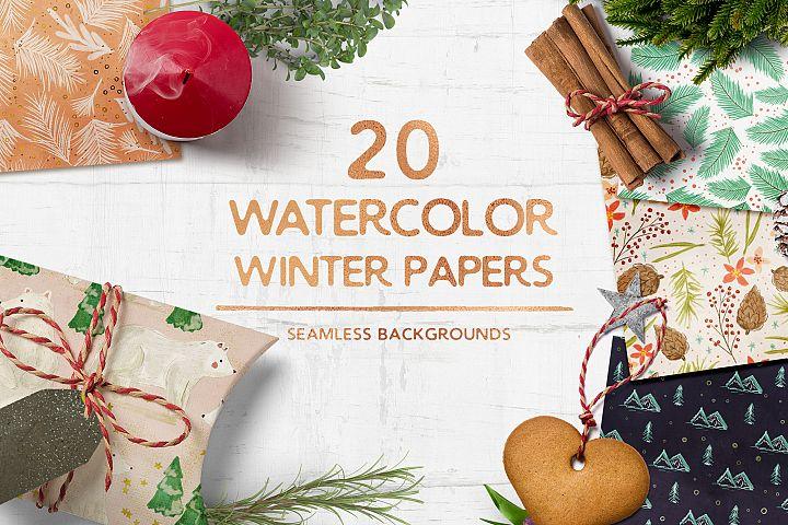 Watercolor Winter Seamless Patterns