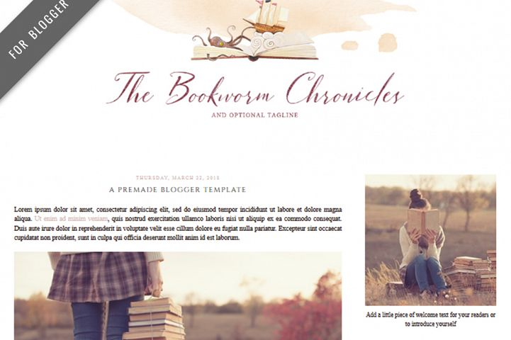 Premade Blogger Template - Mobile Responsive - Watercolor Design Blog - The Bookworm Chronicles Theme