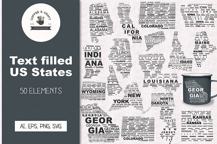 Text Filled US States