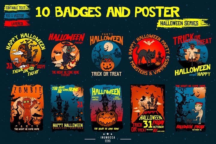 10 Badges & Poster Halloween