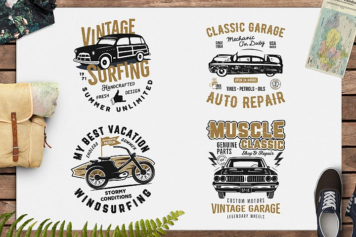 SVG Summer Surf T-Shirt and Classic Garage Vintage Emblems