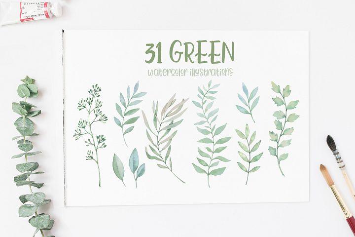 Green watercolor set. Spring leaves