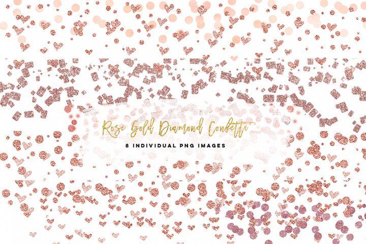 Rose Gold confetti heart clip art, planner stickers hand drawn confetti clip art, confetti heart clipart rose gold, rose gold glitter pink