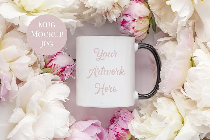 White Mug Mockup with Black Handle - peonies