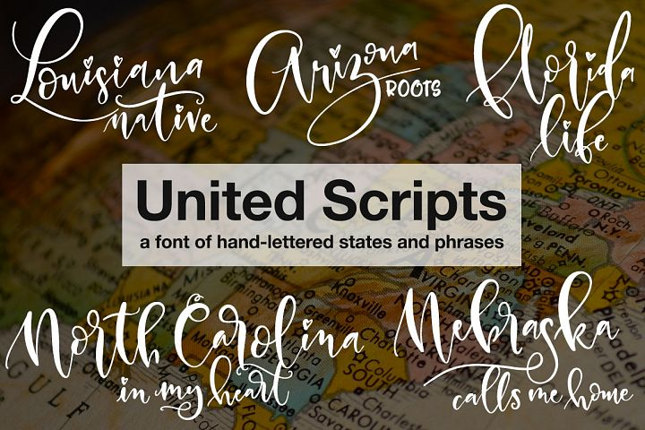 United Scripts: a font of states! - Free Font of The Week