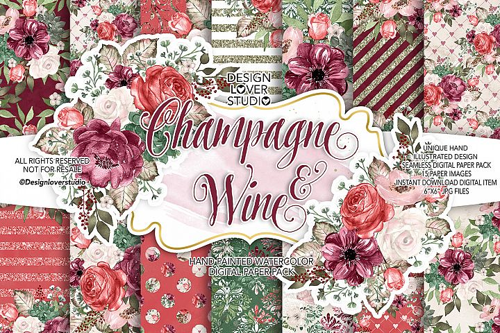 Champagne and Wine Digital paper pack