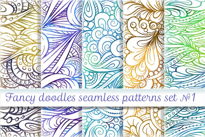Fancy doodles seamless patterns set #1