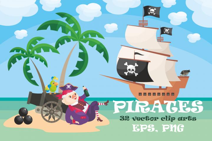 Pirates. Vector clip arts.