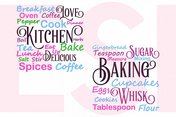Kitchen and Baking Subway Art Set