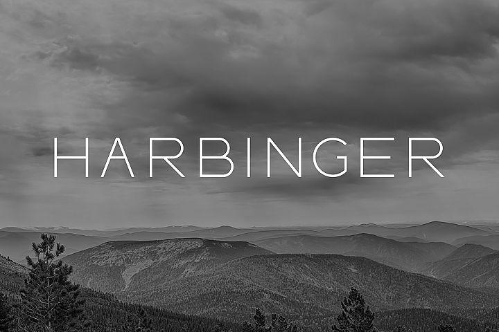 HARBINGER, sans serif font