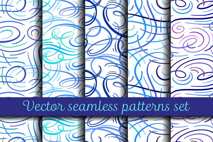 Vector abstract curves patterns set
