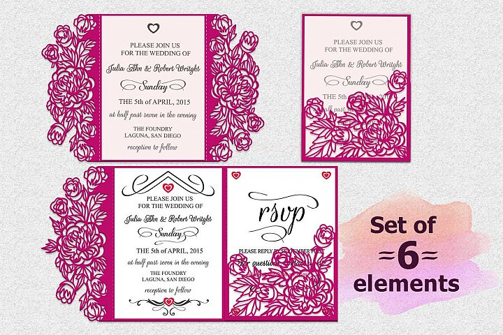 peonies wedding invitation set, laser cut templates, svg cutting file, trifold cricut, big, template, sobres svg, invitaciones svg, tri-fold