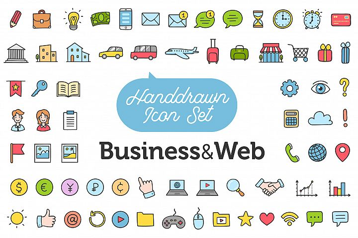 Hand Drawn Icon Set - Business and Web