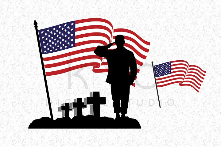 Fallen Soldier SVG Veterans Day SVG DXF PNG EPS files American flag vector US flag vector image Military flag Waving flag