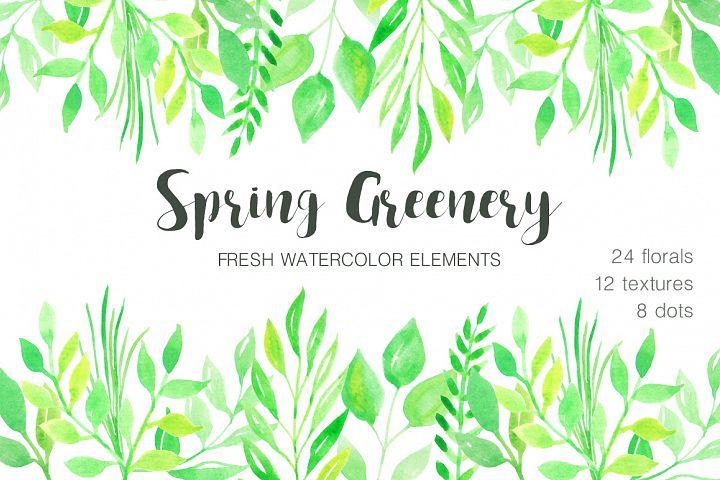 Watercolor Green Spring Set