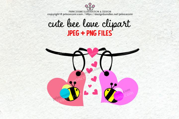 Cute bees love clipart set