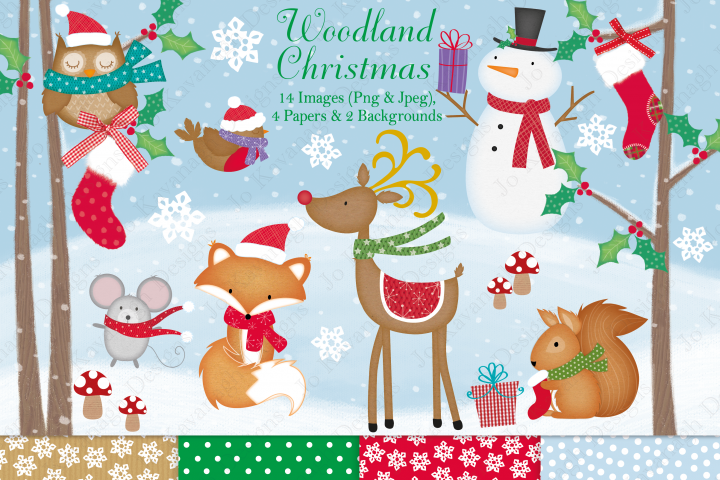 Christmas clipart, Christmas graphics & illustrations, Fox clipart, Christmas woodland graphics & illustrations, Christmas digital papers
