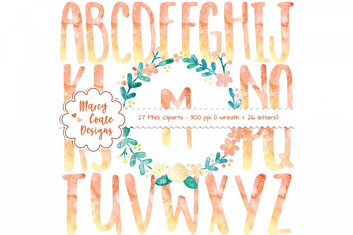 Watercolor Wreath & Watercolor Alphabet Clipart (yellow and orange)