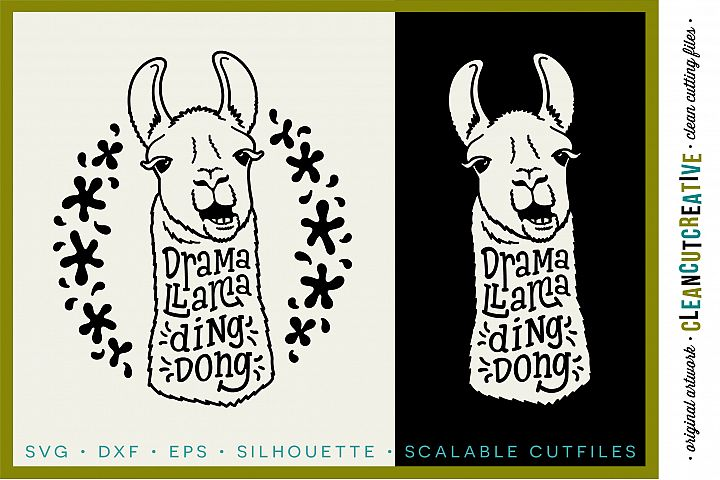 DRAMA LLAMA DING DONG - funny llama cutfile design - SVG DXF EPS PNG - Cricut & Silhouette - clean cutting files