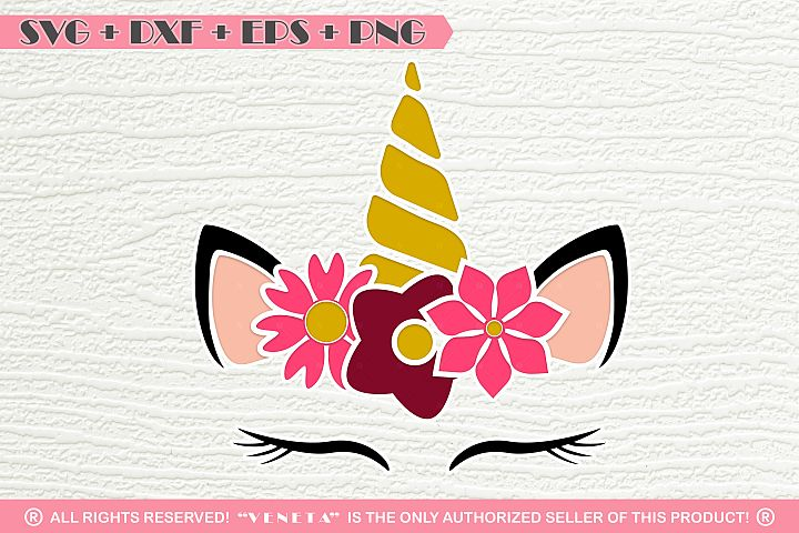 Unicorn | Horn | Flowers | Face |SVG DXF EPS |Cutting File