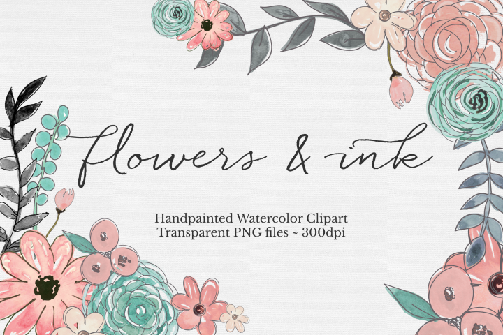 Watercolor & Ink Floral Clipart Set