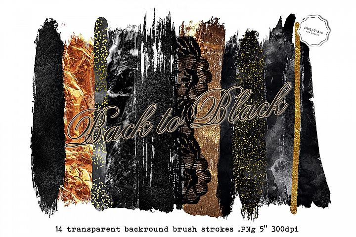Black and Gold Brush Strokes Clipart
